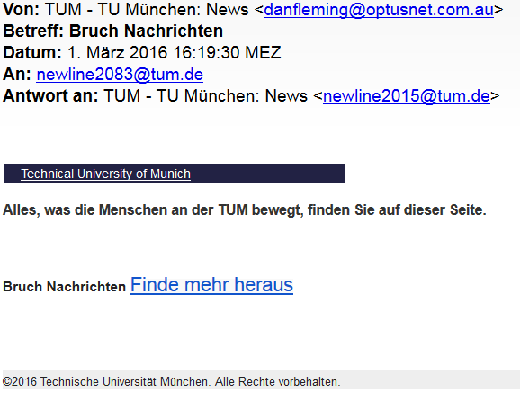 Beispielliste Phishing Mails Tum It Cio